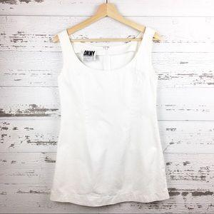 Vintage 90s DKNY White Denim Sleeveless Mini Dress